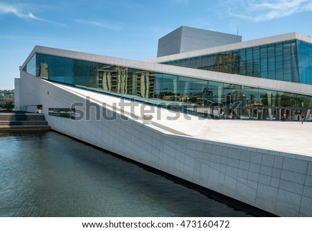 OSLO, NORWAY - JUNE 2009: Beautiful view from the fjord to the National Oslo Opera House on June 2009, in Oslo, Norway.