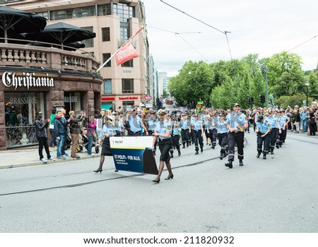 OSLO, NORWAY - JUNE 28: Europride parade in Oslo on June 28, 2014. The Parade is 3 km long.