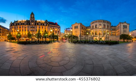 OSLO, NORWAY - JUNE 12, 2014: Parliament of Norway in Oslo. Located at 22 Karl Johans gate, it was taken into use on 5 March 1866 and was designed by the Swedish architect Emil Victor Langlet.