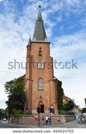 OSLO, NORWAY - JUNE 10, 2016: St. Olav's Cathedral is cathedral of Roman Catholic Diocese of Oslo and parish church