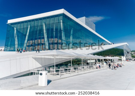 Oslo, Norway - June 22: View on a side of the National Oslo Opera House on June 22, 2010 in Oslo, Norway, witch was opened on April 12, 2008. - stock photo