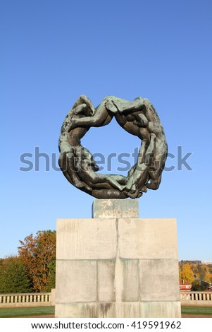OSLO - NORWAY - NOVEMBER 13: Bronze fountain  in Vigeland's sculpture arrangement also called Vigeland Park on november 13, 2015 in Oslo. - stock photo