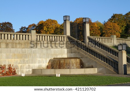 OSLO - NORWAY - OCTOBER 18: Bronze fountain  in Vigeland's sculpture arrangement also called Vigeland Park on OCTOBER 18, 2015 in Oslo. - stock photo