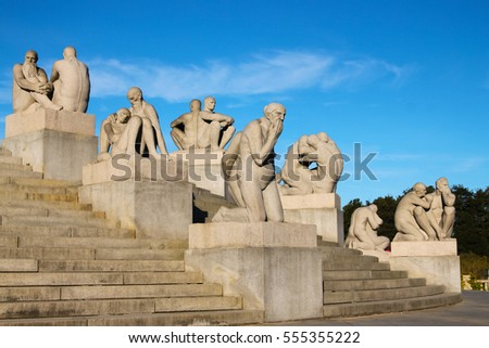 Oslo Norway - October 5, 2016: Vigeland Sculpture Park with  people statues  in Oslo, Norway, Scandinavia