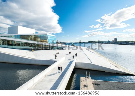 OSLO, NORWAY - SEPTEMBER 5: View on a side of the National Oslo Opera House on September 5, 2012, which was opened on April 12, 2008 in Oslo, Norway - stock photo