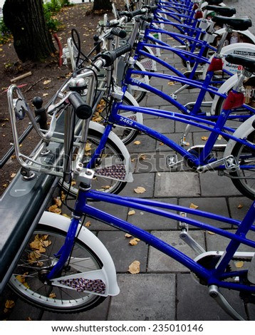 OSLO - SEPT 20: Bike parking in Oslo, Norway on Sept 20, 2014. Bicycles are popular way to get around  Oslo.   - stock photo