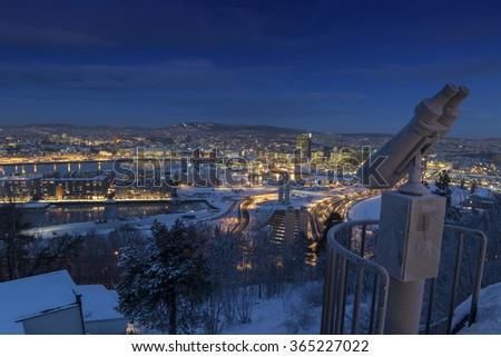 Oslo Skyline winter morning - stock photo