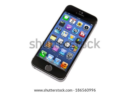 Ostersund, Sweden - April 8 2014: iPhone 5s isolated on white background. Apple IPhone is one of the most popular smart phones in the world.  - stock photo