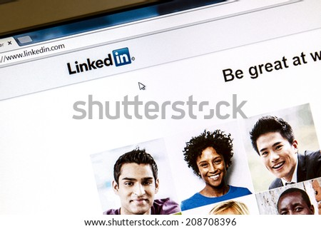 Ostersund, Sweden - August 3, 2014: Linkedin webpage on a computer screen. Linkedin is a business oriented social networking website.  - stock photo