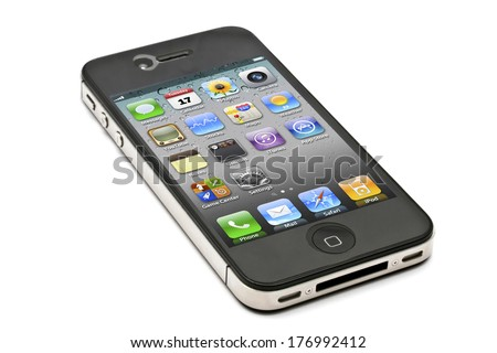 Ostersund, Sweden - December 3, 2011: iPhone 4s isolated on white background. Apple IPhone is one of the most popular smart phones in the world.  - stock photo
