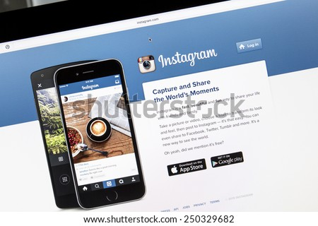 Ostersund, Sweden - Feb 5, 2015: Close up of instagram website on a computer screen. Instagram is an online mobile photo-sharing, video-sharing and social networking service.  - stock photo