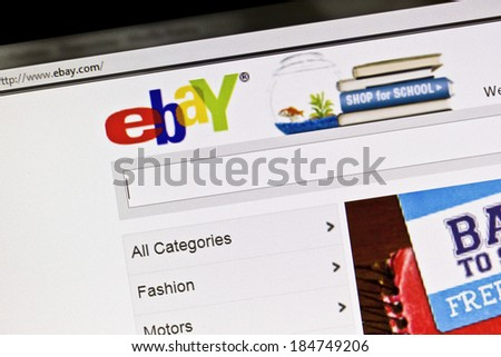 Ostersund, Sweden - July 24, 2011: Close up of ebay's website on a computer screen. ebay is one of the largest online auction and shopping websites in the world.  - stock photo