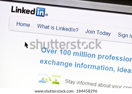 Ostersund, Sweden - July 24, 2011:Close up of Linkedin's main page on a web browser. Linkedin is a business oriented social networking site.  - stock photo