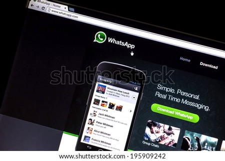 OSTERSUND, SWEDEN - MAY  30, 2014: Photo of WhatsApp webpage on a monitor screen. WhatsApp Messenger is a proprietary, cross-platform instant messaging subscription service for smartphones. - stock photo