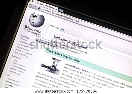 OSTERSUND, SWEDEN - MAY 30, 2014: Wikipedia website displayed on a computer screen. Wikipedia is a free online encyclopedia in several languages.  - stock photo