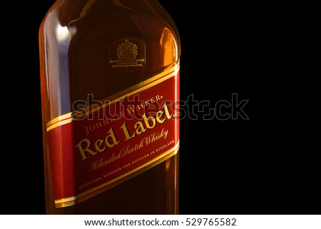OSTRAVA, CZECH REPUBLIC - APRIL 27, 2015: Johnnie Walker whisky bottle. Johnnie Walker is the most widely distributed blended Scotch whisky in the world with annual sales of over 130 million bottles