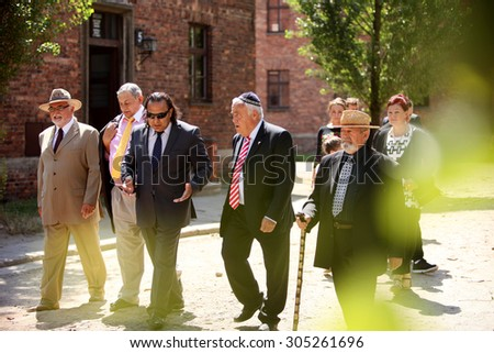 "OSWIECIM, POLAND - AUGUST 2, 2015: The 71' Anniversary Of The Liquidation of ""Zigeunerlager"" Situated in The Auschwitz-Birkenau State Muzeum in Oswiecim. Poland"