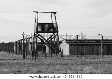 OSWIECIM, POLAND - JULY 23: Sentry box at Auschwitz Birkenau concentration camp on July 23, 2011 in Oswiecim, Poland. It was the biggest nazi concentration camp in Europe during World War II