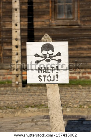 OSWIECIM, POLAND - OCTOBER 22: Stop table in Auschwitz Camp I, a former Nazi extermination camp on October 22, 2012 in Oswiecim, Poland. It was the biggest nazi concentration camp in Europe.