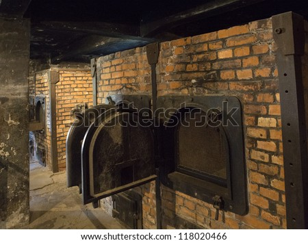 OSWIECIM, POLAND - OCTOBER 22: The crematorium in Auschwitz I, a former Nazi extermination camp on October 22, 2012 in Oswiecim, Poland. It was the biggest nazi concentration camp in Europe.