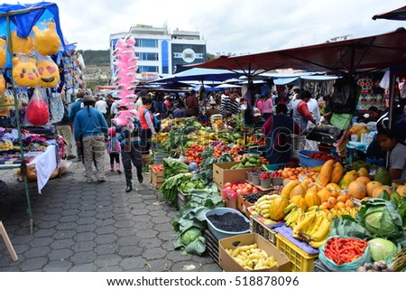 OTAVALO, ECUADOR - SEPTEMBER 17TH, 2016: Unidentified people at the famous handicraft market of Otavalo in the saturday, in September 17th, 2016