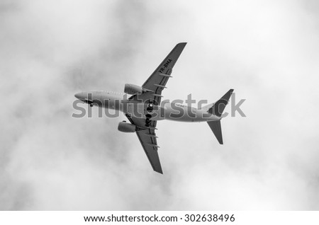 Otopeni AIRPORT, Romania - 1 Aug: YR-BMA air plane landing on Otopeni Airport on August 1, 2015.