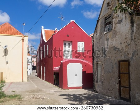 Otrobanda old houses - Curacao a tropical island in the Caribbean - Netherland Antilles - stock photo