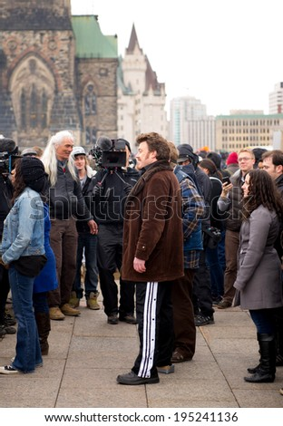 "OTTAWA - APR 20: Robb Wells (Ricky) is filmed on Parliament Hill as part of scene in the third Trailer Park Boys movie ""Don't Legalize It"" Apr 20, 2013 in Ottawa, Canada.  - stock photo"