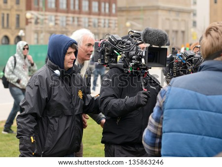 OTTAWA, CANADA - APR 20:  Mike Clattenburg, L, director of the popular Trailer Park Boys show directs a scene for the third TPB movie Apr 20, 2013 in Ottawa, Ontario, Canada. - stock photo