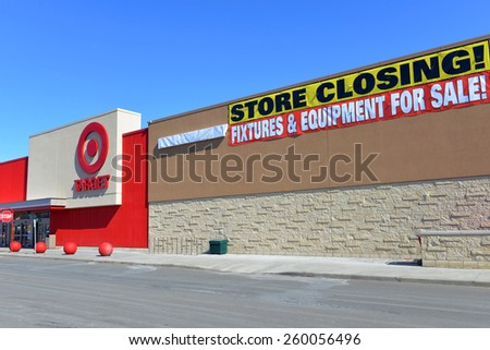 OTTAWA, CANADA - MAR 12, 2015: Soon to be closed Target in Nepean, Ottawa.  The US retail chain announced it would close all of its Canadian stores in January after failed attempt to expand to Canada  - stock photo