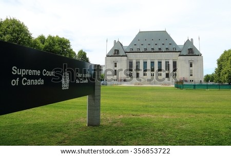 OTTAWA, CANADA - OCTOBER 29, 2015: Since 1949, the Supreme Court of Canada has been the final court of appeal and the highest legal authority in the Canadian justice system.  - stock photo