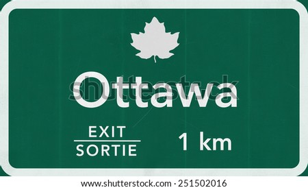 Ottawa Canada Transcanada Highway Road Sign - stock photo