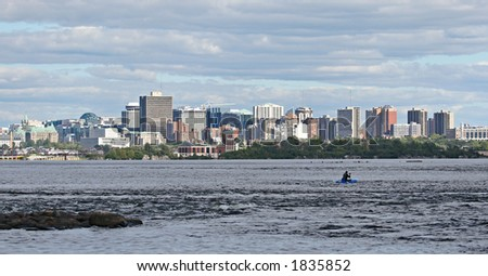 Ottawa downtown from across the river - stock photo