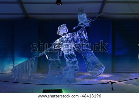"OTTAWA, ON - FEB 7: Hiroaki Kimura and Masaki Takahashi of Japan win first place in the pairs ice carving competition at the Winterlude festival with their sculpture ""Kimono""  February 7, 2010 in Ottawa, ON."
