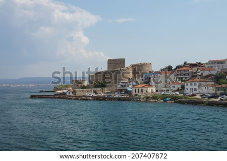 Ottoman fortress seen from the ferry connecting Gallipoli and Canakkale in Turkey - stock photo