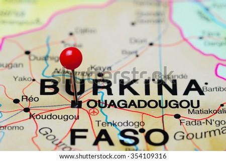 Ouagadougou pinned on a map of Africa  - stock photo