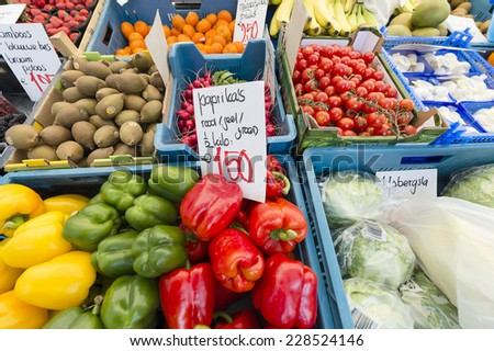 OUD GASTEL, NETHERLANDS - AUGUST 21:  A vegetable stall in the market on August 21, 2013 in Oud Gastel.
