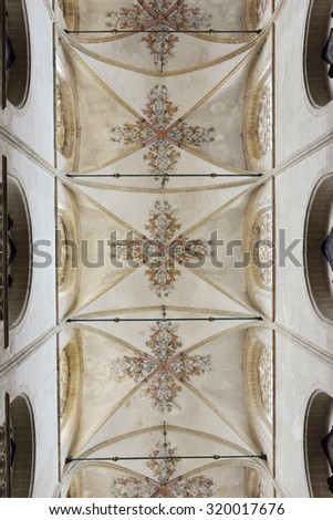 OUDENAARDE, BELGIUM-JUNY 23, 2015: Decorated ceiling in interior of church Saint Walburga, known from 11 century