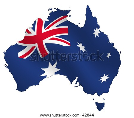 Ouline of Australia, filled with waving flag,. Very detailed shoreline