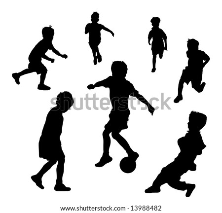 oung children playing soccer or football - stock photo