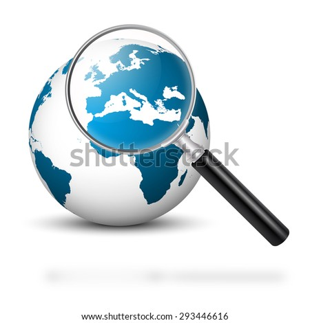 Our Beautiful Blue Planet with Magnifying Glass and Blue Colored Continents - Europe in Focus - Planet Earth. - stock photo