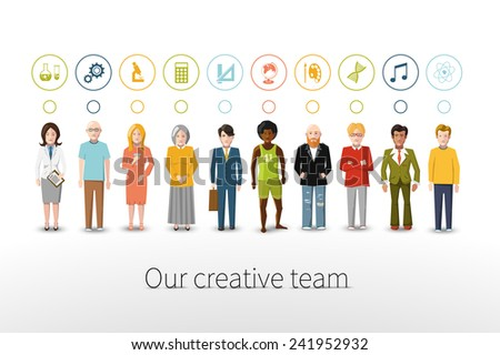 Our creative team of ten people with occupations icons on white background - stock photo