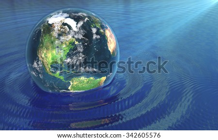 Our Earth on water - stock photo