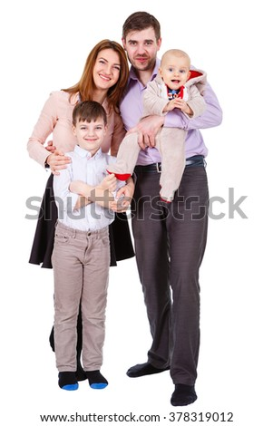 Our Happy and smiles Family with children and infant on a white background isolated - stock photo