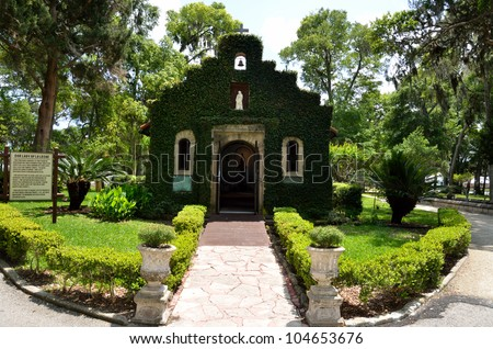 Our Lady of la Leche mssion chapel of Nombre de Dios at historic St. Augustine, Florida, USA. - stock photo