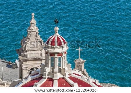 Our Lady of Liasse church dome in Valletta, Malta - stock photo