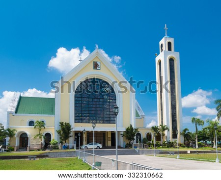 Our lady of penafrancia church in naga city, philippines. The Image of Our Lady of Penafrancia is enshrined in her sanctuary at the Basilica Minore - stock photo
