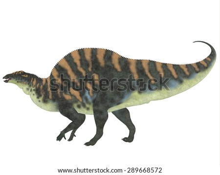 Ouranosaurus Side Profile - Ouranosaurus was a herbivorous hadrosaur dinosaur that lived during the Cretaceous Period of Africa. - stock photo