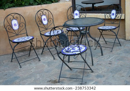 Out door tables and chairs set - stock photo
