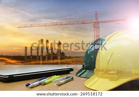 Out door works safety first with safety helmet . - stock photo